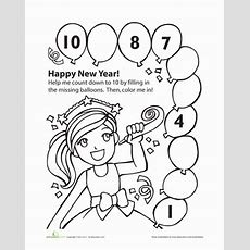 New Year's Countdown  Worksheet Educationcom