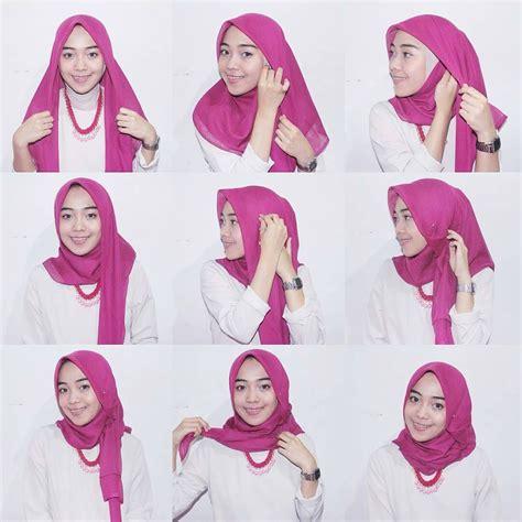 mudah memakai hijab segi empat tutorial hijab