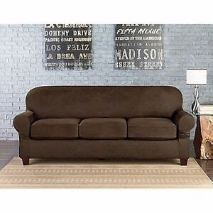 Leather Loveseat Slipcover by Sure Fit Faux Leather Individual Cushion 3 Seat Sofa