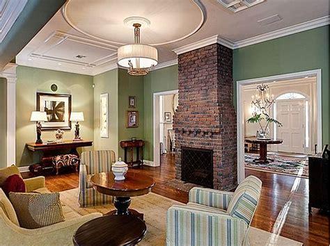 brick fireplace with green wall green blue butter