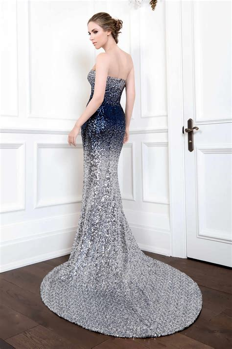 sequin mermaid gown silver midnight blue ombre kelly ng