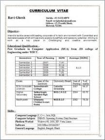 post graduate resume format pdf professional resume resume sle of post graduate in computer application mca fresher