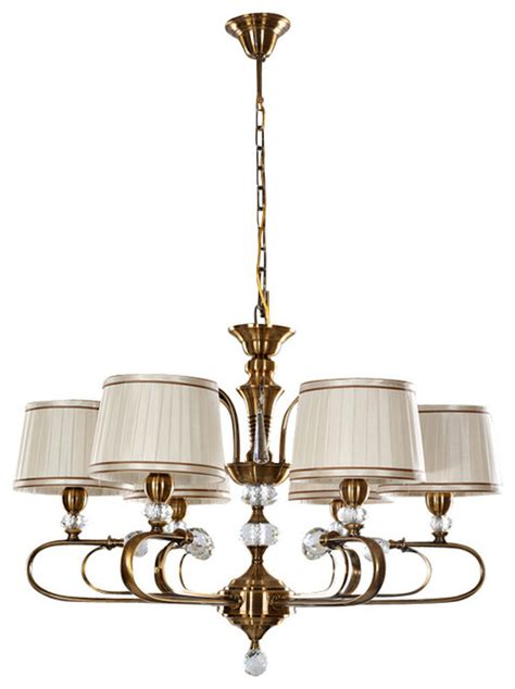 6 light fabric drum shaped shade chandelier with