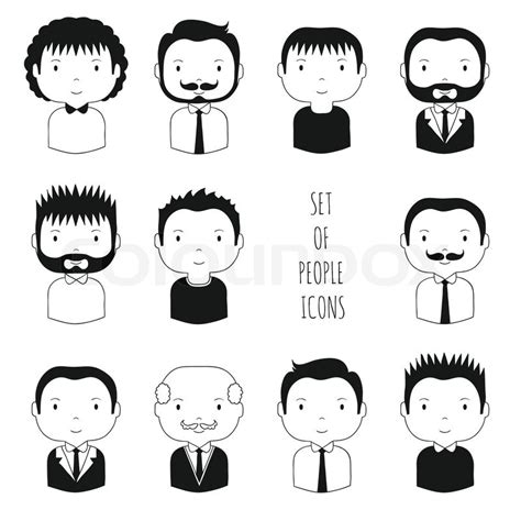 set  monochrome male faces icons funny cartoon hand