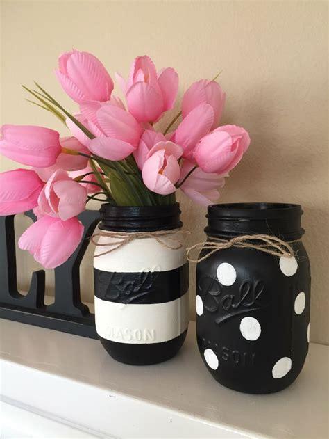 Black And White Mason Jars Stripes And Polka Dots Set Of