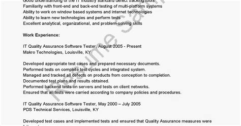 quality assurance software testing resume resume sles it quality assurance software tester resume sle
