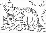 Dinosaurs Coloring Children Triceratops Dinosaur Printable Cartoon Funny Justcolor Adult Animals sketch template