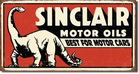 antique style sinclair motor oil metal sign  fashioned