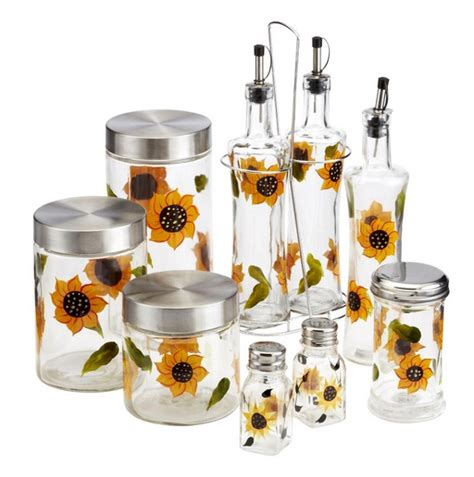 sunflower canisters for kitchen sunflower kitchen decor with painted sunflower on cabinet