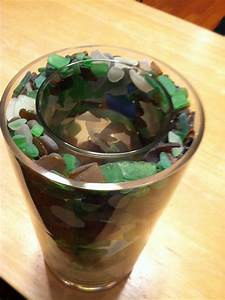 Candle, Holder, Made, With, Two, Cylinder, Vases, With, Sea, Glass, Filling, The, Space, Between, Put, A