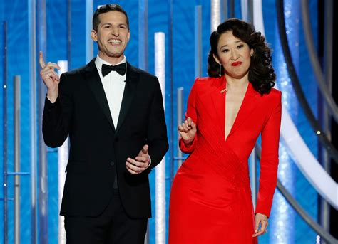sandra oh monologue golden globes 2019 sandra oh and andy samberg s opening