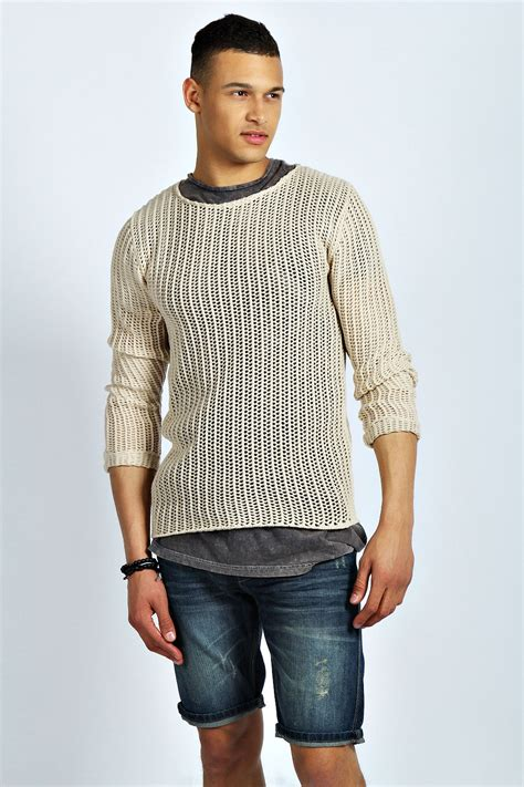 sleeve sweater mens boohoo mens fit mesh jumper sweater top sleeve