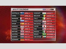 Mundial F1 2016 calendario y circuitos