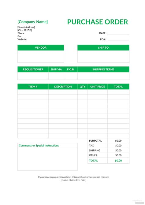 blank purchase order template  microsoft word excel