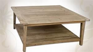 Table Basse Carrée En Bois : table basse carr e en pin aspect bois recycl avec deux ~ Teatrodelosmanantiales.com Idées de Décoration