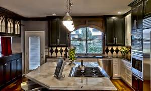 New Orleans Themed Kitchen And Baths Transitional Kitchen Kitchen Remodeling Ideas With Blonde Wood Hardwood Floors Island Pink Hand Painted Furniture On Yellow Painted Antique Furniture Cart Brown Quartz Top Transitional Kitchen Islands And Kitchen Carts