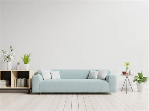 Living Room Empty Background by Empty Living Room With Blue Sofa Plants And Table On