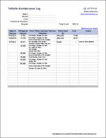 Auto Maintenance Schedule Spreadsheet by Free Vehicle Maintenance Log Template For Excel