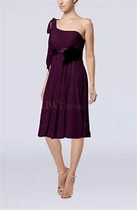 plum plain one shoulder sleeveless zipper chiffon flower With plum dress for wedding guest