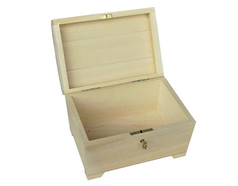 Plain Wood / Wooden Box Hinged Lockable Jewellery Psk20