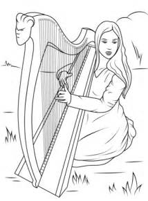 girl playing celtic harp coloring page  printable