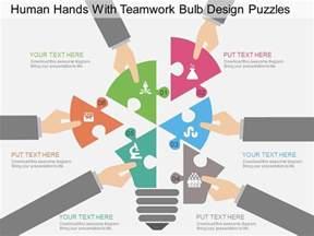 design fã r powerpoint fr human with teamwork bulb design puzzles flat powerpoint design