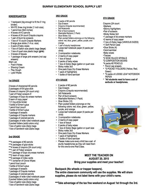Elementary School Supply List by 2015 2016 Student S School Supply List Sunray Elementary