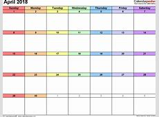 April 2018 Calendar Word 2018 yearly calendar