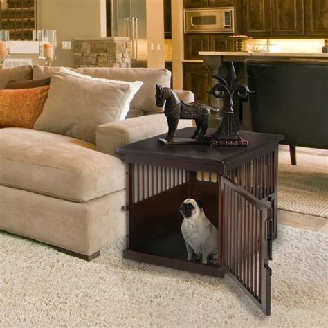 wooden dog crate  table dark brown officialdoghouse