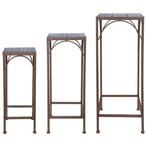 Piedistalli Per Tavoli by Set Di 3 Piedistalli Per Piante In Metallo E Piastrelle