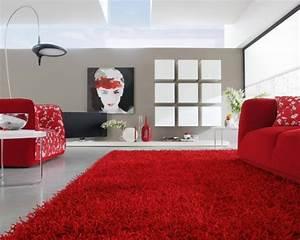 tapis shaggy dans le salon un accessoire moderne et elegant With tapis shaggy avec coussin de canapé rouge