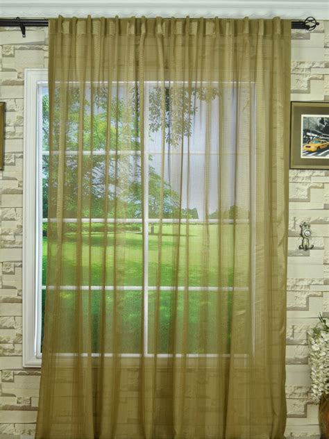 qy7151skb striped back tab sheer curtains
