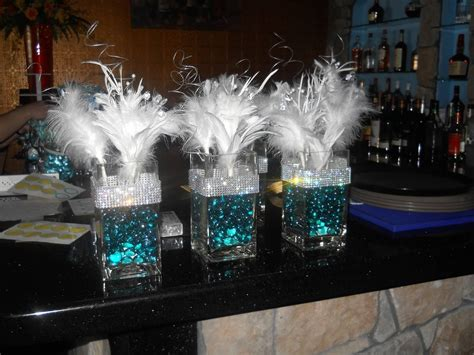 Tiffany Themed Centerpieces For 30th Birthday Glass Vases