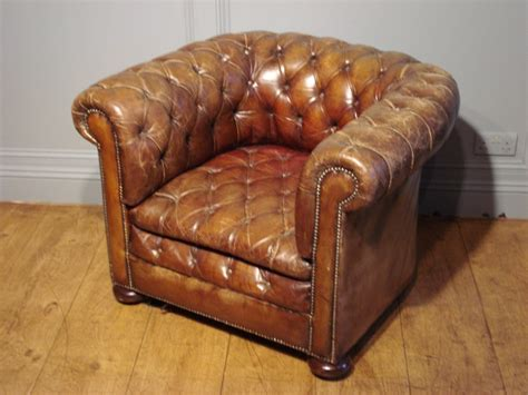 Sold/antique Brown Leather Chesterfield Armchair