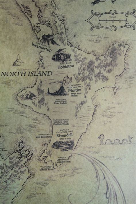Lord Of The Rings New Zealand Map Of Middle Earth By