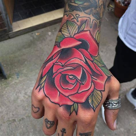 Neotraditional Style Rose On The Hand Traditional