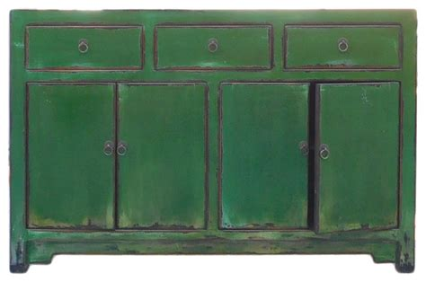Chinese Distressed Rustic Grass Green Sideboard Buffet