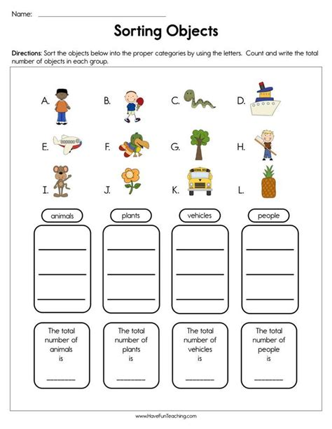 classifying objects worksheet   kindergarten