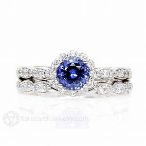 blue sapphire engagement ring wedding set diamond by rareearth With blue sapphire wedding ring set