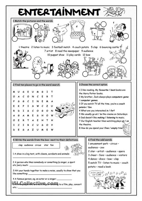 Entertainment Vocabulary Exercises  Esl Worksheets Of The Day  Pinterest Vocabulary