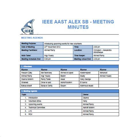 project meeting minutes template google docs word