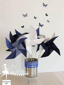 Moulin A Vent Enfant : lot de 10 moulins vent couleur bleu marine et blanc 15cm couleur bleue bleu marine et la f e ~ Melissatoandfro.com Idées de Décoration