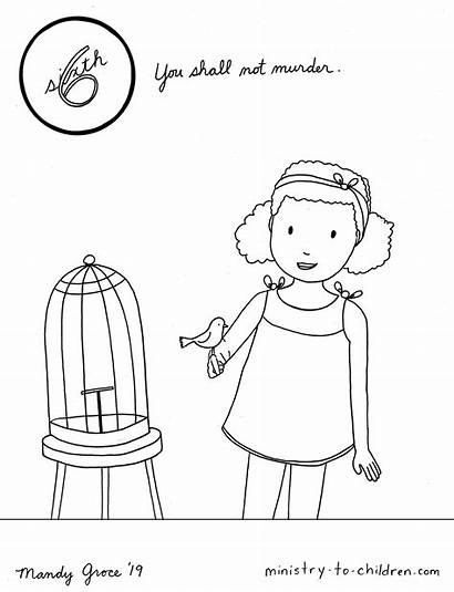 Coloring Commandments Commandment Worksheets Children 6th Value