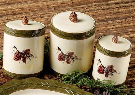 pinecone stoneware canister set  pcs