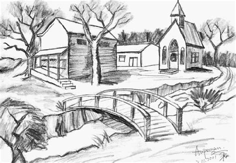 Pencil Sketches Nature Sceneries Landscapes