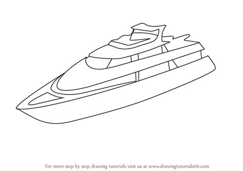 How To Draw A Speedboat Easy by Learn How To Draw A Yacht Boats And Ships Step By Step