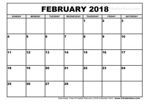 Monthly Calendar Template 2018 February 2018 Calendar Monthly Calendar Template