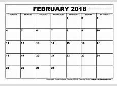 February 2018 Calendar monthly calendar template