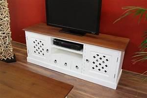 Lowboard Holz Weiß : sideboard tv hifi lowboard holz wei braun landhaus kolonial ~ Orissabook.com Haus und Dekorationen