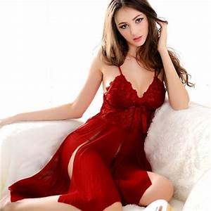 2015 Sexy Lingerie Nightwear Red Lace Ladies Cleavage
